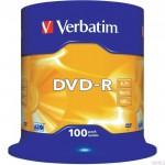 Płyta VERBATIM DVD-R cake box 100 4.7GB 16x Matt Silver