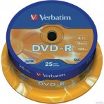Płyta VERBATIM DVD-R cake box 25 4.7GB 16x Matt Silver