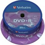 Płyta VERBATIM DVD+R cake box 25 4.7GB 16x Matt Silver