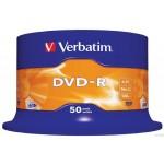 Płyta VERBATIM DVD-R cake box 50 4.7GB 16x Matt Silver