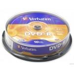 Płyta VERBATIM DVD-R cake box 10 4.7GB 16x Matt Silver