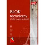 Blok techniczny z kolorowymi kartkami A4, 10k.