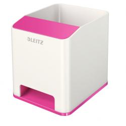 Kubek na długopisy Leitz WOW ze wzmacniaczem dźwięku, różowy