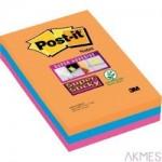 Karteczki samoprzylepne Post-it® Super Sticky w linie, paleta Bangkok, 101x152mm , 3x90 kartek 70005271997