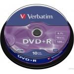 Płyta VERBATIM DVD+R cake box 10 4.7GB 16x Matt Silver