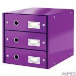 Pojemnik z 3 szufladami Leitz C&S WOW, fiolet 60480062