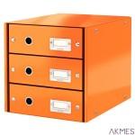 Pojemnik z 3szufladami pomarańczowy LEITZ C&S 60480044