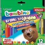 Kredki trójkątne BAMBINO 12 kolorów temperówka w oprawie drewnianej