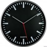 Zegar ścienny metalowy, 295 mm E01.2483 MPM Srebrny z czarną tarczą