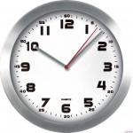 Zegar ścienny metalowy, 295 mm E01.2482 MPM Srebrny z białą tarczą