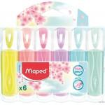 Zakre. FLUO PEPS pastel mix kolor. 6 szt etui pud. z zaw. 742558 MAPED