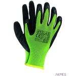 Rękawice powlekane limonkowo-czarne rozmiar 7 RTELA