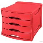 Pojemnik z szufladami z 4 szufladami ESSELTE Europost VIVIDA, czerwony