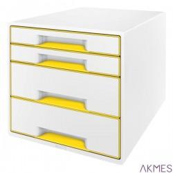Pojemnik z 4 szufladami Leitz WOW, biały/żółty 52132016