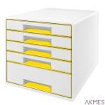 Pojemnik z 5 szufladami Leitz WOW, biały/żółty 52142016