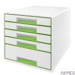 Pojemnik z 5 szufladami Leitz WOW, biały/zielony 52142054