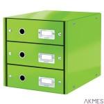 Pojemnik z 3 szufladami Leitz C&S WOW, zielony 60480054
