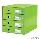 Pojemnik z 4 szufladami Leitz C&S WOW, zielony 60490054