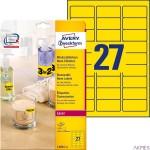 Etykiety żółte neonowe L6004-25 63,5x29,6 25 ark Usuwalne, Avery Zweckform