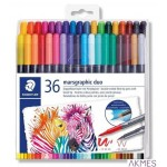Pisak dwustronny brush pen 1-6 i 0.5-0.6mm 36kol. Design Journey S 3001 TB36 Staedtler