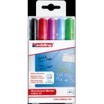 Marker EDDING do tablic szklanych czarny,czerwony,fioletowy,błękitny, zielony etui 5 szt. 90/5s/000 ed