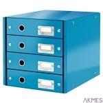 Pojemnik z 4 szufladami Leitz C&S WOW, niebieski 60490036