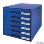 Pojemnik z 6 szufladami LEITZ PLUS niebieski 521200-35